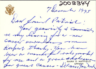 MARK O. HATFIELD - AUTOGRAPH LETTER SIGNED 12/07/1995