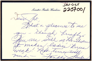 PAULA FICKES HAWKINS - AUTOGRAPH LETTER SIGNED 03/18/1995