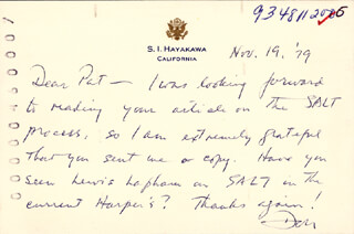 S. I. HAYAKAWA - AUTOGRAPH LETTER SIGNED 11/19/1979