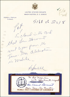 HOWELL HEFLIN - AUTOGRAPH NOTE SIGNED CO-SIGNED BY: LEONARD GARMENT