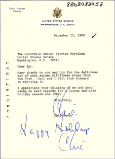 CHIC HECHT - TYPED LETTER SIGNED 12/15/1988