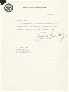 ANNA M. ROSENBERG - TYPED NOTE SIGNED 02/05/1952