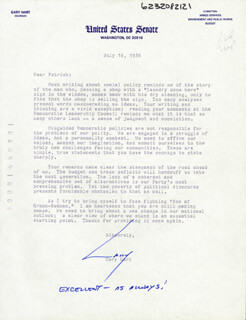 GARY HART - TYPED LETTER SIGNED 07/16/1986
