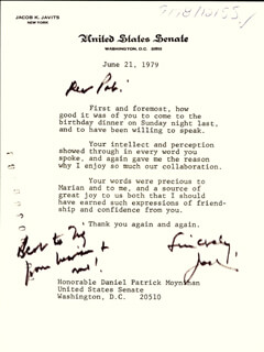 JACOB K. JAVITS - TYPED LETTER SIGNED 06/21/1979