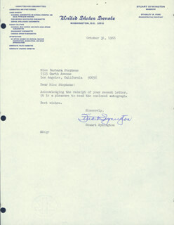 W. STUART SYMINGTON - TYPED LETTER SIGNED 10/31/1966