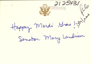 MARY L. LANDRIEU - AUTOGRAPH NOTE SIGNED