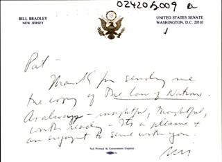 BILL BRADLEY - AUTOGRAPH LETTER SIGNED  - HFSID 266004