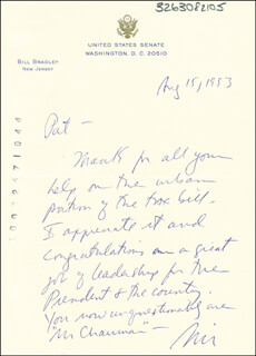 BILL BRADLEY - AUTOGRAPH LETTER SIGNED 08/15/1993  - HFSID 266005