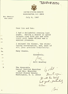 BILL BRADLEY - TYPED LETTER TWICE SIGNED 07/08/1987