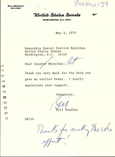 Autographs: BILL BRADLEY - TYPED LETTER SIGNED 05/03/1979