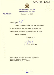 Autographs: BILL BRADLEY - TYPED LETTER SIGNED 03/16/1986