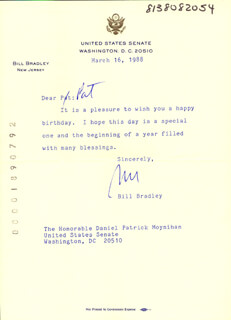 BILL BRADLEY - TYPED LETTER SIGNED 03/16/1988