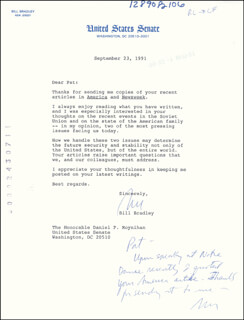 Autographs: BILL BRADLEY - TYPED LETTER TWICE SIGNED 09/23/1991