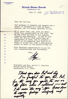 ALAN CRANSTON - TYPED LETTER SIGNED 06/17/1980