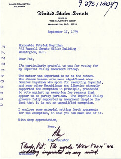 ALAN CRANSTON - TYPED LETTER SIGNED 09/17/1979
