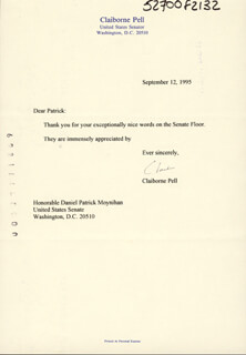 CLAIBORNE PELL - TYPED LETTER SIGNED 09/12/1995