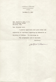 CHARLES E. ENGINE CHARLIE WILSON - TYPED LETTER SIGNED 12/04/1952