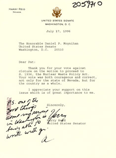 HARRY REID - TYPED LETTER SIGNED 07/17/1996
