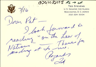 TED STEVENS - AUTOGRAPH LETTER SIGNED 7/16