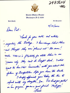BOB SMITH (POLITICIAN) - AUTOGRAPH LETTER SIGNED 04/10/2000