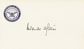 Autographs: THOMAS S. GATES JR. - PRINTED CARD SIGNED IN INK