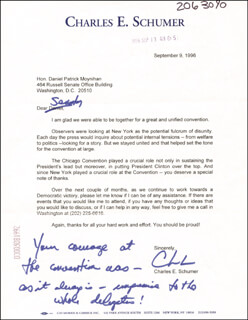 CHUCK (CHARLES E.) SCHUMER - TYPED LETTER SIGNED 09/09/1996