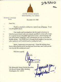 OLYMPIA J. SNOWE - TYPED LETTER SIGNED 12/29/1998
