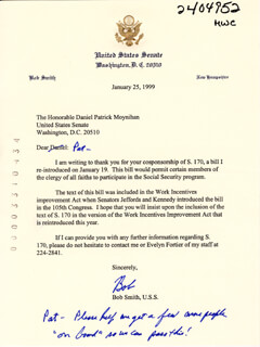 BOB SMITH (POLITICIAN) - TYPED LETTER SIGNED 01/25/1999