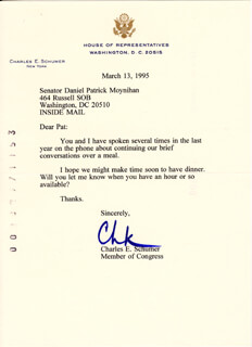 CHUCK (CHARLES E.) SCHUMER - TYPED LETTER SIGNED 03/13/1995