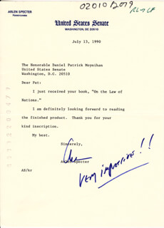 ARLEN SPECTER - TYPED LETTER SIGNED 07/13/1990