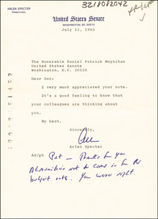 ARLEN SPECTER - TYPED LETTER SIGNED 07/12/1993