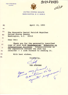TED STEVENS - TYPED LETTER SIGNED 04/12/1993
