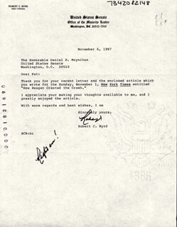 ROBERT C. BYRD - TYPED LETTER SIGNED 11/06/1987