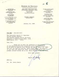 VICE PRESIDENT WALTER F. MONDALE - TYPED LETTER SIGNED 01/26/1989