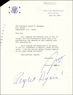 VICE PRESIDENT WALTER F. MONDALE - TYPED LETTER SIGNED 07/26/1979