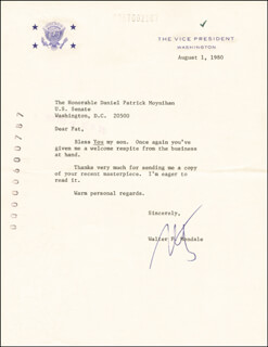 VICE PRESIDENT WALTER F. MONDALE - TYPED LETTER SIGNED 08/01/1980
