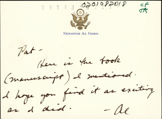 VICE PRESIDENT ALBERT GORE JR. - AUTOGRAPH NOTE SIGNED