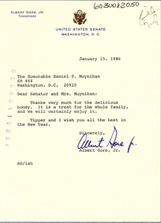 VICE PRESIDENT ALBERT GORE JR. - TYPED LETTER SIGNED 01/25/1986