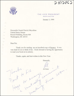 Autographs: VICE PRESIDENT ALBERT GORE JR. - TYPED LETTER SIGNED 01/05/1999