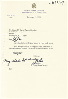 JOHN GLENN - TYPED LETTER SIGNED 12/29/1998