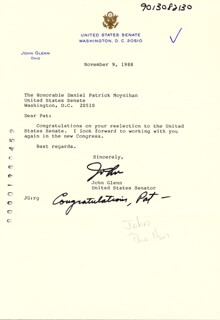 JOHN GLENN - TYPED LETTER SIGNED 11/09/1988