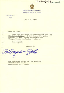 Autographs: JOHN GLENN - TYPED LETTER SIGNED 07/19/1990