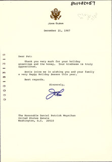 JOHN GLENN - TYPED LETTER SIGNED 12/21/1987