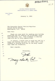 JOHN GLENN - TYPED LETTER SIGNED 01/05/1993