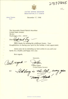 Autographs: JOHN GLENN - TYPED LETTER SIGNED 12/17/1998