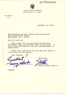 JOHN GLENN - TYPED LETTER SIGNED 12/12/1985