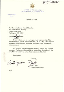 JOHN GLENN - TYPED LETTER SIGNED 10/24/1996