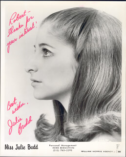 JULIE BUDD - AUTOGRAPHED INSCRIBED PHOTOGRAPH CIRCA 1971