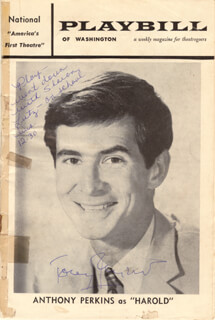ANTHONY PERKINS - SHOW BILL SIGNED CIRCA 1962