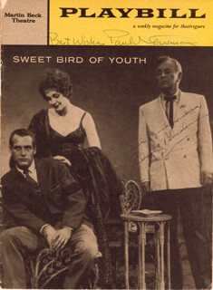 Autographs: SWEET BIRD OF YOUTH BROADWAY CAST - SHOW BILL SIGNED CIRCA 1959 CO-SIGNED BY: PAUL NEWMAN, SIDNEY BLACKMER